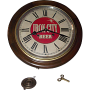 "REDUCED Authentic ""Iron City Beer"" Advertising Gallery 8 Day Clock with Chime Strike"