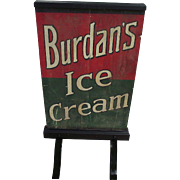 "REDUCED Rare  2 Sided Wood Curb Sign ""Burdan's Ice Cream"" Circa 1920's !!!"