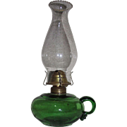 REDUCED Pure Green Glass Finger Lamp with Gaffer Applied Loop Circa 1880 !!!