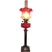 Electrified Cranberry Oil Lamp with Cut Side Panels & Acid Etched Cranberry to Clear Decorated