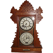 "REDUCED Rare Feichtinger Calendar Clock in a Golden Oak ""Herndon"" Model Case Circa 1"