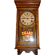 "Rare Small ""Cigar Store"" 8 Day Advertising Clock with Time & Strike  in a Solid Oak"