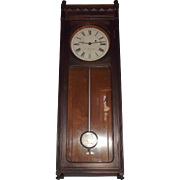 REDUCED E. Howard & Co. #58 Wall Regulator Clock in Walnut Case Circa 1880  !!!