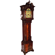 SALE PENDING Grandmother/Dwarf Chippendale Clock in Flame Mahogany Case with Bench Made Brass