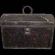 "Toleware Stencil Decorated Ladies ""Sewing or Trinket Box""  Circa 1870 !!!"
