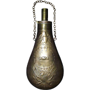 "Marked Powder Flask ""N.P. Ames"" dated 1846 with embossed ""Peace"" Pattern !"
