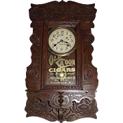 "Rare Hanging Gingerbread ""Old Coon Tobacco"" Advertising Clock, made by New Haven Clo"