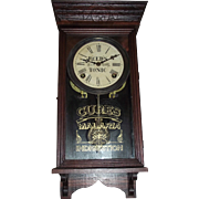 """Rare """"Reeds Tonic"""" Advertising Clock made by Welch Clock Co. with a carved or incise"""
