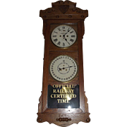 "Historic ""Baltimore & Ohio Railroad * Akron,Ohio."" Double Dial 30 Day Calendar Clock"