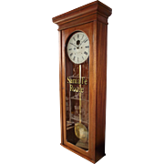 "Solid Mahogany ""Santa Fe Southern Railway"" Clock Model 89 made by the ""E. Howar"