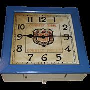 "Square ""IGA"" Store ""Balcony"" Model Key Wind Wall Clock used as Advertiser"