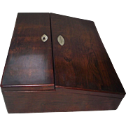 "Excellent Rosewood Travel Desk with ""Jessie Lockhart"" identified owner Engraved into"