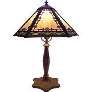 Art Nouveau 2 Color Slag Glass Hexagon Table Lamp with Scalloped Bronze Finished Base Circa ..