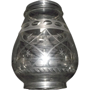 "Presentation Grade Blown Glass Lantern Globe Engraved with ""Quilted Diamonds & Stars"""