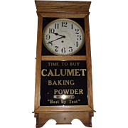 "Advertising Store Regulator Clock marked ""Calumet Baking Powder"" made by E. Ingraham"