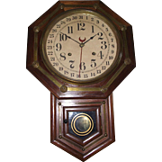 Rich Rosewood & Brass Trim Short-Drop Regulator Clock made by Waterbury Clock Co. Circa 1890 !