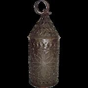 "Near Mint Original ""Flower"" Punch Decorated Paul Revere Type Candle Lantern !  Circa"
