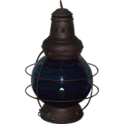 "Marked ""Perkins 8"" Brass Ship's Lantern with Teal Blue Glass Globe ! Perkin's & Perk"