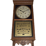 "Fabulous ""Chicago Biscuit Company"" Store Advertising Clock with Time & Strike Circa"