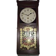 "Awesome Gold Foil ""Sauer's Extract"" Advertising Store Regulator made by ""New Ha"