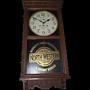 """Chicago & North Western Railway"" Wall Regulator Clock with Waterbury 30 Day Movemen"