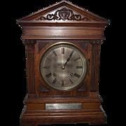 1906 Claybrooke School Presentation Oak Mantle Clock with Winterhalder & Hoffmeier 1/4 Hour ..