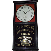 "Seth Thomas Jeweler's Advertising Regulator ""S. Kind & Sons * 1110 Chestnut Street Philad"