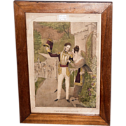 "REDUCED ""The Soldier's Adieu"" Print Circa 1845 with Solid Black Walnut Frame  (Lith."