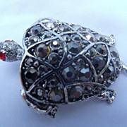 Hollycraft Marcasite Rhinestone Turtle Brooch