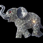 Sweet Joseph Warner Rhinestone Elephant Brooch