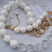 SALE Designer Yosca Acrylic Bead & Chain Necklace