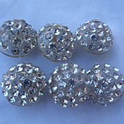 6 Rhinestone & Lucite Dome Button