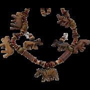 Hand Carved Wood Safari Animal Set