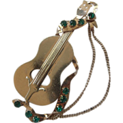 XL Sterling Vermeil Cello Brooch