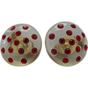 Red Rhinestone & Lucite Button Earrings