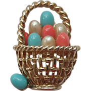 Adorable Boucher Eggs in a Basket Brooch