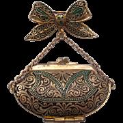 Spanish Damascene Purse Locket Brooch