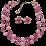 Lisner Pink Glass Demi Parure