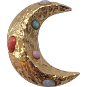 Zentall Vintage Crescent Moon Brooch