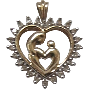 SALE 10K & .15 CT Diamond Mother & Child Heart Pendant