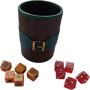SOLD Vintage Italian Dice Cup With Bakelite Dice