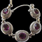 Sterling Silver & Amethyst Crystal Bracelet by Danecraft