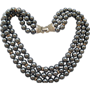 Boucher Gray Pearls & Rhinestones
