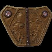 Large Arts & Crafts Brooch W/ Purple Stones