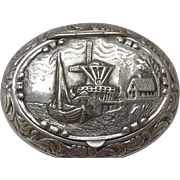 SALE Dutch Repousse Silver Plated Snuff/ Pill Box