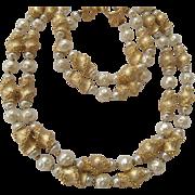 Trifari Necklace & Bracelet in Textured Gold