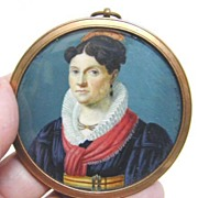 Early 19th c. Miniature Portrait of Woman in French Costume