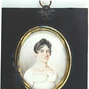 Early 19th c. Miniature of Woman in White Dress in Ebonized Frame