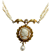 Exquisite Antique Cameo 14K Gold Lavaliere Seed Pearl Necklace
