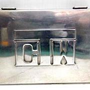 1950s Patania Silver Embossed Monogram Large Cigarette Case